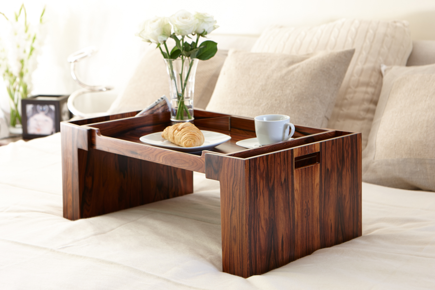 The Pamper Bed Tray - Royal Santos Rosewood