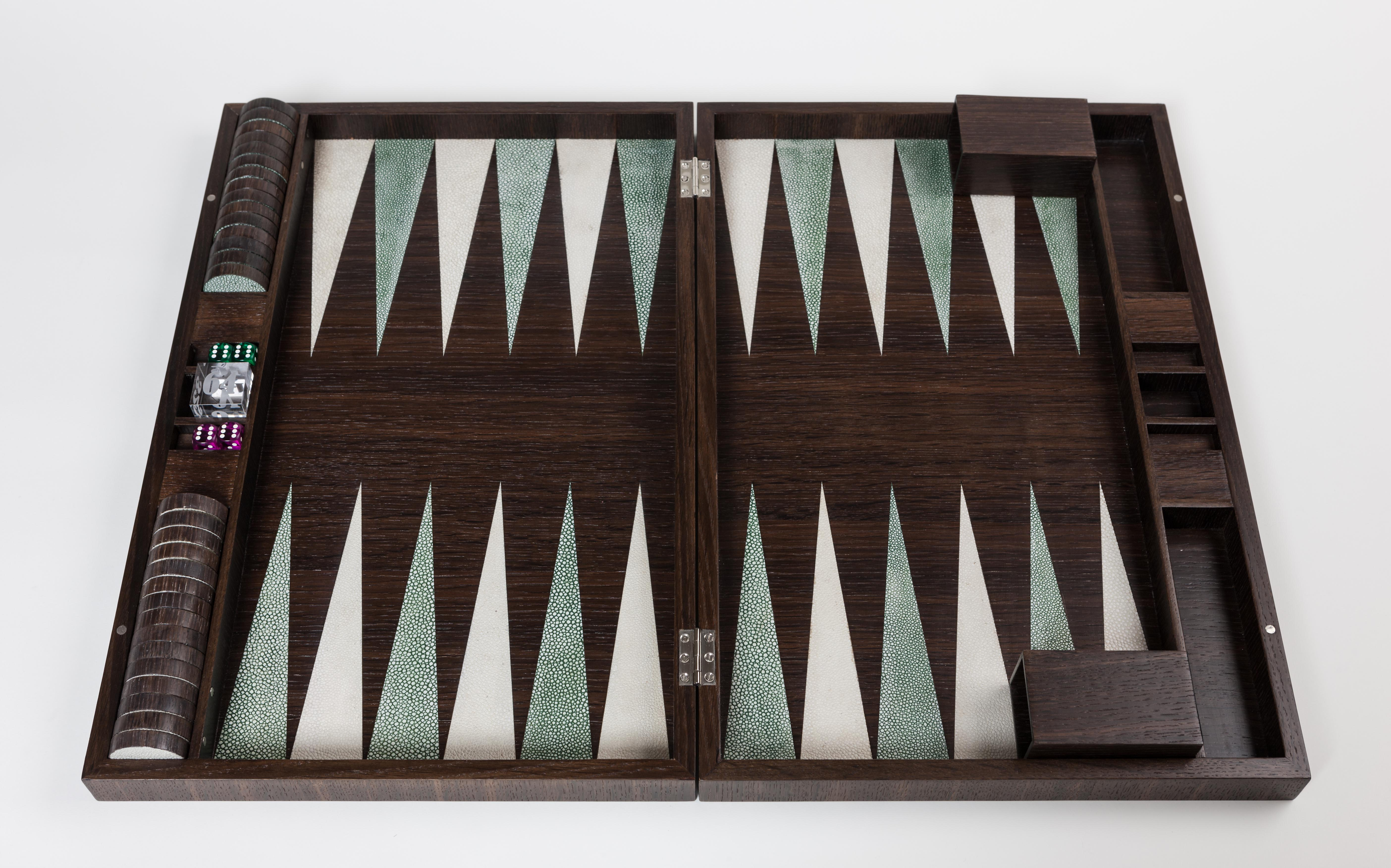 Luxury Backgammon Set in Smoked Oak